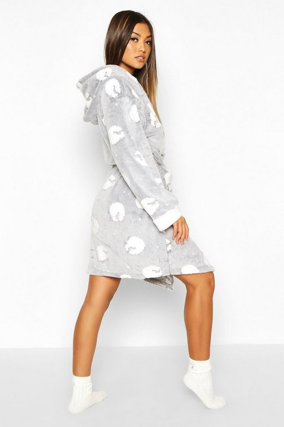 Soft Fleece Sheep Print Hooded Dressing Gown