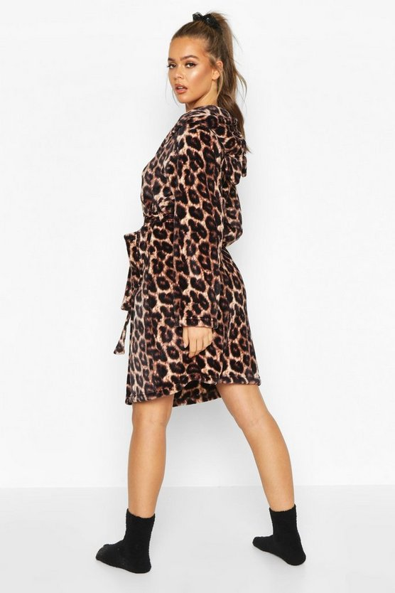 Leopard Print Soft Fleece Dressing Gown