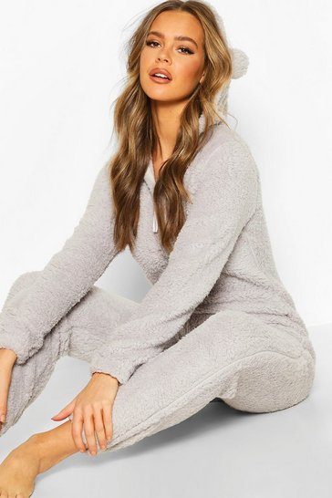 Womens Grey Super Soft Fleece Onesie