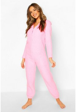 Womens Pink Super Soft Fleece Onesie