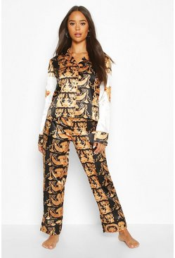 Gold Chain Print Satin PJ Trouser Set