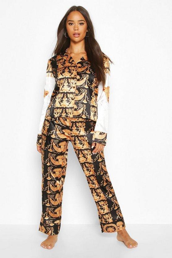 Chain Print Satin PJ Trouser Set