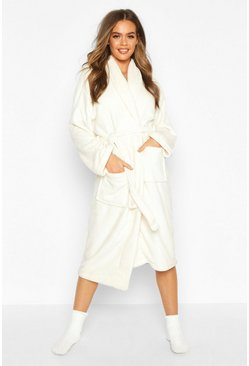 Womens Cream Fleece Pocket Dressing Gown
