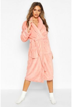 Womens Pink Fleece Pocket Dressing Gown
