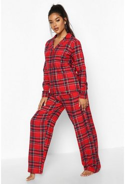 Womens Red Brushed Check Button Through PJ Trouser Set