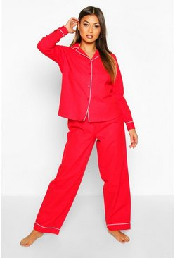 Womens Red Brushed Button Through PJ Trouser Set