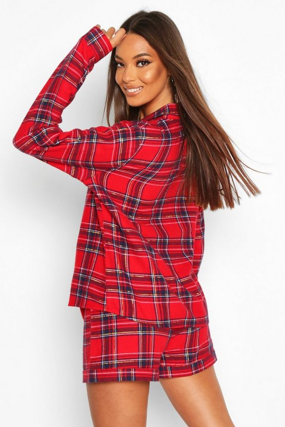 Brushed Check Long Sleeve PJ Short Set