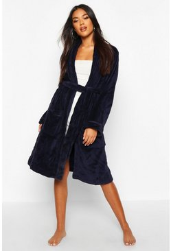 Womens Navy Soft Fleece Dressing Gown