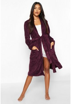Weicher Fleece-Morgenmantel, Plum, Damen