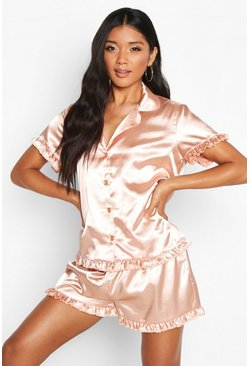 Womens Rose gold Satin Ruffle Button Through PJ Short Set