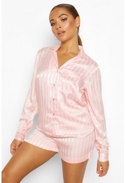 Dam Rose gold Jacquard Stripe Button Through PJ Short Set