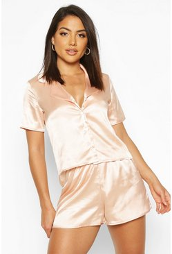 Ensemble short de pyjama boutonné en satin, Or rose, Femme