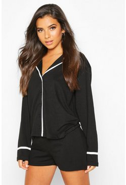 Black Jersey Button Through Long Sleeve PJ Shorts Set