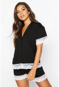 Womens Black Jersey Lace Trim Button Through PJ Short Set