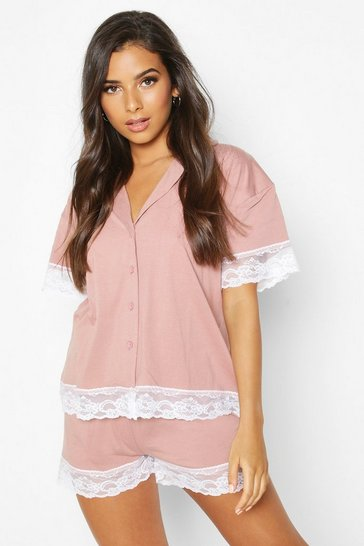Womens Blush Jersey Lace Trim Button Through PJ Short Set