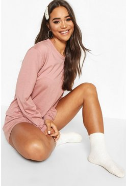 Blush Basic Long Sleeve PJ Short Set