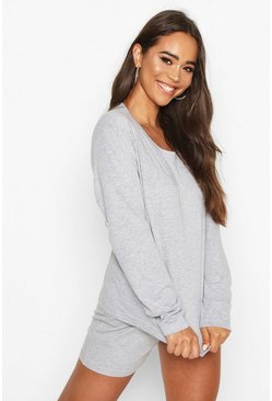 Grey marl Basic Long Sleeve PJ Short Set