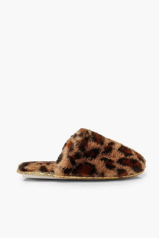 Leopard Print Faux Fur Slipper