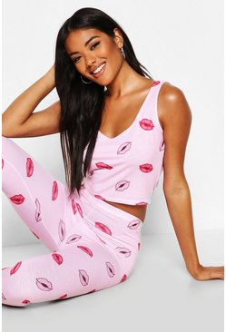 Womens Baby pink Lip Print Jersey Crop & Legging Set
