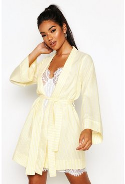 Cotton Stripe Kimono Robe, Lemon, DAMEN