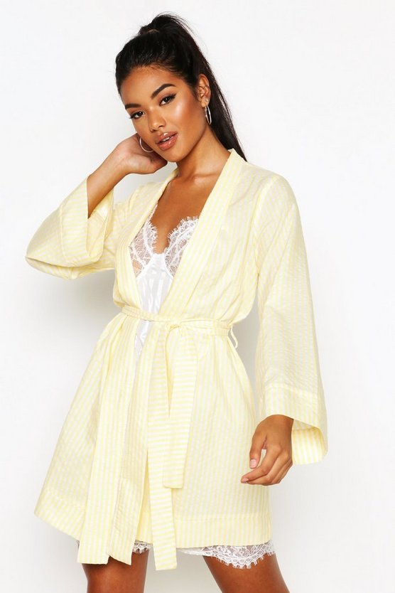 Womens Lemon Cotton Stripe Kimono Robe