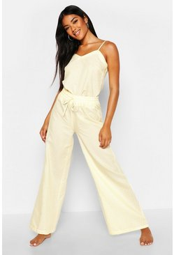 Cotton Stripe Cami & Trouser Set, Lemon, FEMMES