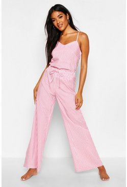 Pink Cotton Stripe Cami & Trouser Set