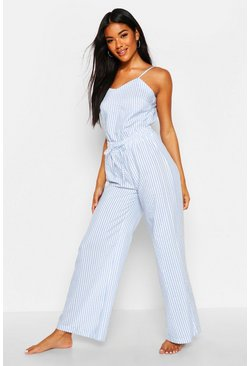 Cotton Stripe Cami & Trouser Set, Sky, Donna