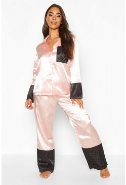 Womens Rose gold Spot Contrast Button Through Satin PJ Set