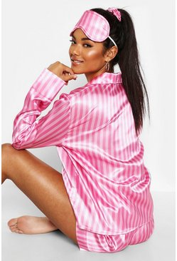 Womens Pink Stripe Print 5 Piece PJ Set
