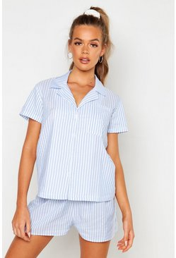 Womens Blue Cotton Stripe Short Sleeve PJ Set