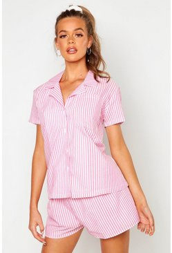Womens Pink Cotton Stripe Short Sleeve PJ Set