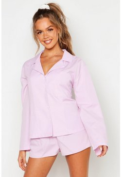 Womens Lilac Cotton Long Sleeve PJ Short Set