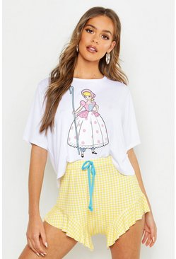 Womens Lemon Disney License Bo Peep Shorts Set