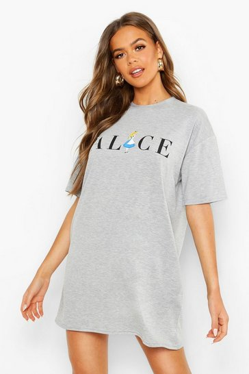 Womens Grey marl Disney License Alice in Wonderland Nightie