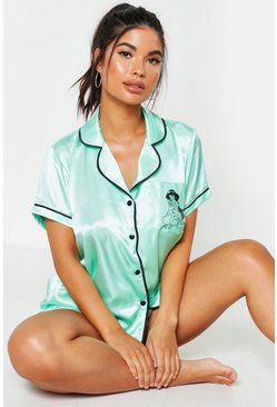 Womens Turquoise Disney License Princess Jasmine Satin PJ Set
