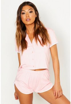 Womens Blush 'Bridesmaid' Pocket Button Through PJ Short Set