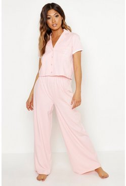 Womens Blush 'Maid of Honour' Pocket Print Button Through PJ Set