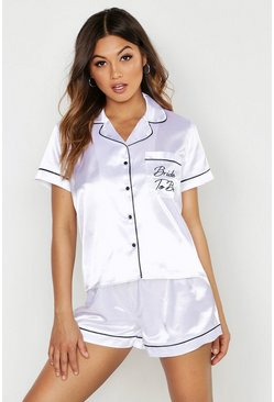 White Bride To Be Satin Embroidered Pj Short Set