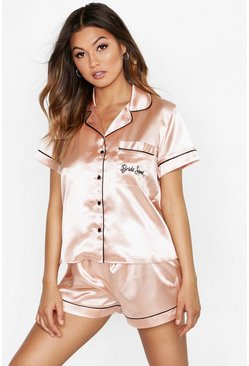Rose gold Bride Squad Satin Embroidered Pj Short Set