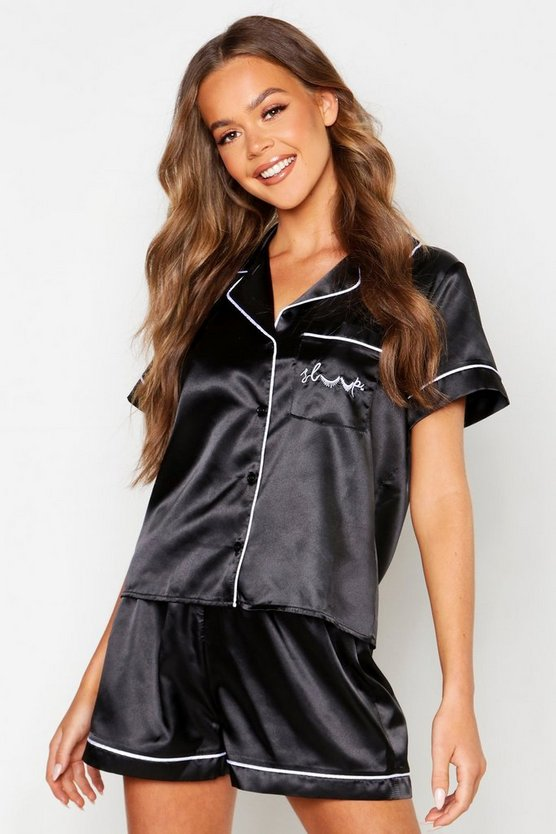 Womens Black 'Sleep' Pocket Embroidered Satin Short Set