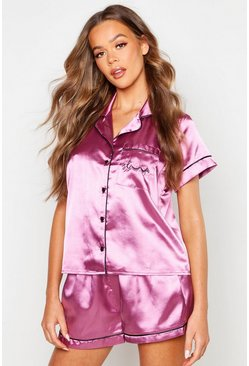 Womens Mauve 'Sleep' Pocket Embroidered Satin Short Set