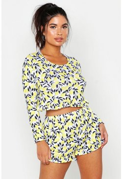 Womens White Lemon Print Frill Shorts Set
