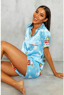 "Disney-PJ-Set mit Shorts aus Satin mit ""Toy Story""-Motiv, Blau, Damen"