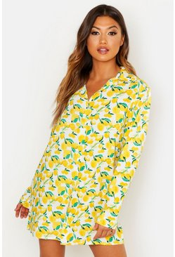 Womens White Lemon Cotton Sleep Shirt