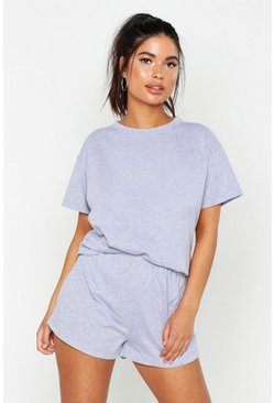 Womens Grey marl Basic T-Shirt & Short Set
