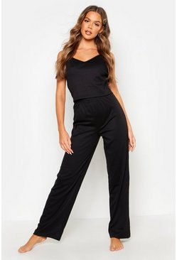 Womens Black Basic Cami & Trouser Set