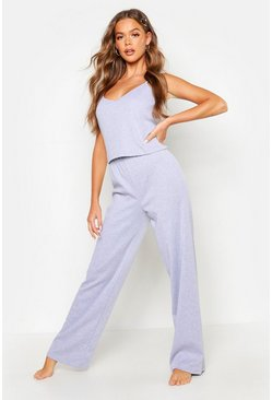 Womens Grey marl Basic Cami & Trouser Set