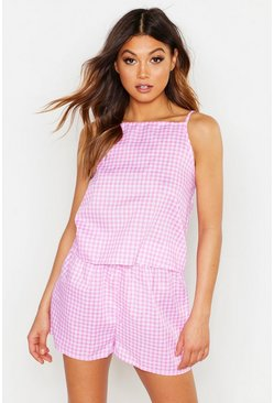 Womens Baby pink Premium Gingham Check Cotton Short Set