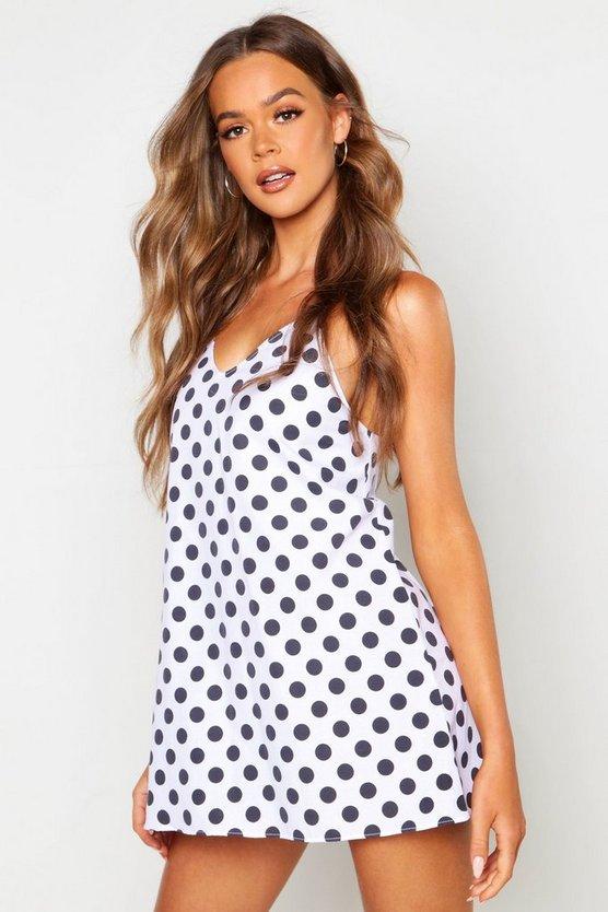 Cotton Polka Dot Woven Slip Night Dress